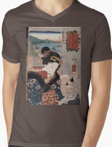 Utagawa Kuniyoshi - Octopus Fishing At Takasago In Harima Province. Woman portrait: sensual woman, geisha, kimono, courtesan, silk, beautiful dress, umbrella, wig, lady, exotic, beauty Mens V-Neck T-Shirt