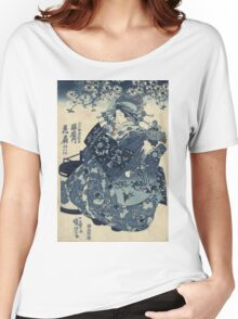 Utagawa Kuniyoshi - The Courtesan Hanao Of Ogi-Ya. Woman portrait: sensual woman, geisha, kimono, courtesan, silk, beautiful dress, umbrella, wig, lady, exotic, beauty Women's Relaxed Fit T-Shirt