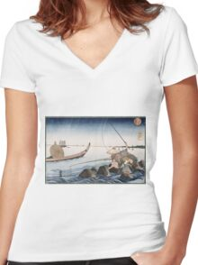 Utagawa Kuniyoshi - Three Anglers Fishing At Teppozu. People portrait: party, woman and man, people, family, female and male, peasants, crowd, romance, women and men, city,  society Women's Fitted V-Neck T-Shirt