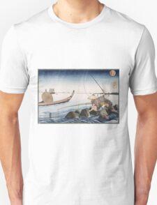 Utagawa Kuniyoshi - Three Anglers Fishing At Teppozu. People portrait: party, woman and man, people, family, female and male, peasants, crowd, romance, women and men, city,  society Unisex T-Shirt