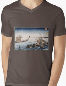 Utagawa Kuniyoshi - Three Anglers Fishing At Teppozu. People portrait: party, woman and man, people, family, female and male, peasants, crowd, romance, women and men, city,  society Mens V-Neck T-Shirt