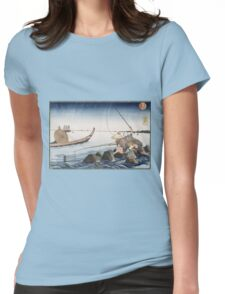 Utagawa Kuniyoshi - Three Anglers Fishing At Teppozu. People portrait: party, woman and man, people, family, female and male, peasants, crowd, romance, women and men, city,  society Womens Fitted T-Shirt