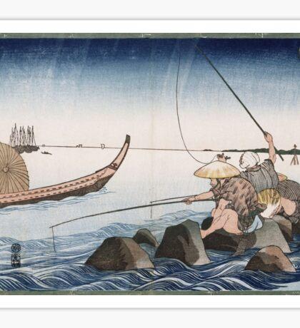 Utagawa Kuniyoshi - Three Anglers Fishing At Teppozu. People portrait: party, woman and man, people, family, female and male, peasants, crowd, romance, women and men, city,  society Sticker