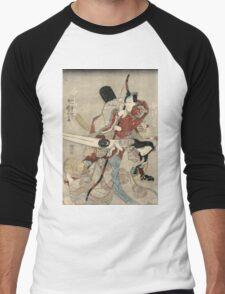 Utagawa Kuniyoshi - Two Actors In The Roles Of Saitogo Kunitake And A Female Buddhist Devotee. Lovers portrait:  actor ,  mask,  face,  man ,  samurai , hero, costume, kimono, tattoos, theater, shows Men's Baseball ¾ T-Shirt