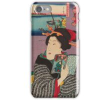 Utagawa Kunisada - Landscapes and Beauties: Feeling Like Reading the Next Volume.   Woman portrait: woman, geisha, kimono, dream, feeling, umbrella, dress, fashion , female, makeup, wig iPhone Case/Skin