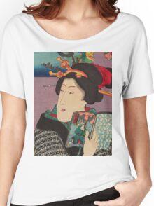 Utagawa Kunisada - Landscapes and Beauties: Feeling Like Reading the Next Volume.   Woman portrait: woman, geisha, kimono, dream, feeling, umbrella, dress, fashion , female, makeup, wig Women's Relaxed Fit T-Shirt