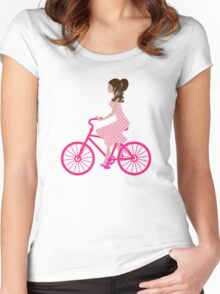 Girl On A Pink Bike Women's Fitted Scoop T-Shirt