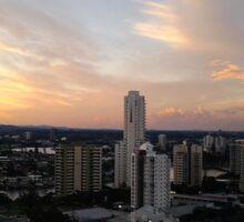Gold Coast Highrise Sunset Sticker
