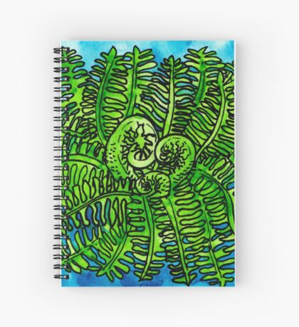 wild watercolor fern Spiral Notebook
