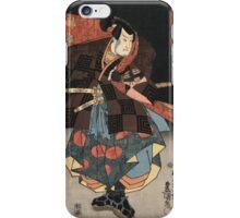 Utagawa Kunisada - An Actor In The Role Of Tadanokurando Yukitsuna. Man portrait:  actor ,  mask,  face,  man ,  samurai ,  hero,  costume,  kimono,  tattoos,  theater,  shows iPhone Case/Skin