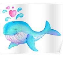 Cute whimsical whale heart spurt kids art  Poster