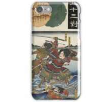 Utagawa Kunisada - Kawasaki Nitta Yoshioki. Man portrait: man,  samurai ,  hero,  costume,  kimono,  tattoos ,  sport,  sumo, manly, sexy men, macho iPhone Case/Skin