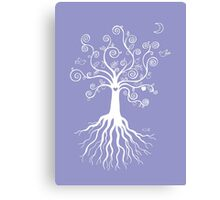 Tree of Life - white on pale blue Canvas Print