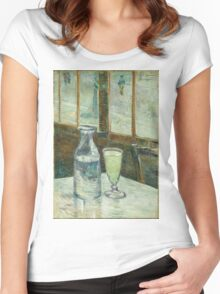 Vincent Van Gogh - Cafe Table With Absinth. Cafe view: drinking and eating party, woman and man, people, family, female and male, peasants, cafe, romance, women and men, restaurant, food Women's Fitted Scoop T-Shirt