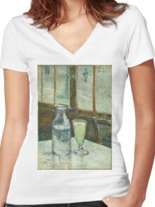 Vincent Van Gogh - Cafe Table With Absinth. Cafe view: drinking and eating party, woman and man, people, family, female and male, peasants, cafe, romance, women and men, restaurant, food Women's Fitted V-Neck T-Shirt