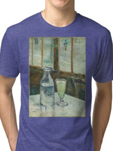 Vincent Van Gogh - Cafe Table With Absinth. Cafe view: drinking and eating party, woman and man, people, family, female and male, peasants, cafe, romance, women and men, restaurant, food Tri-blend T-Shirt
