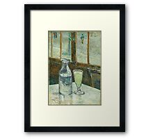 Vincent Van Gogh - Cafe Table With Absinth. Cafe view: drinking and eating party, woman and man, people, family, female and male, peasants, cafe, romance, women and men, restaurant, food Framed Print