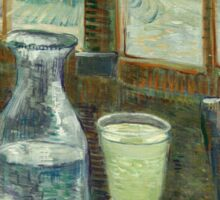 Vincent Van Gogh - Cafe Table With Absinth. Cafe view: drinking and eating party, woman and man, people, family, female and male, peasants, cafe, romance, women and men, restaurant, food Sticker