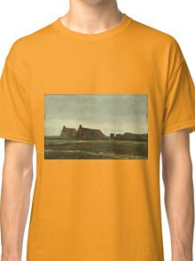 Vincent Van Gogh - Cottages. Country landscape: village view, country, buildings, house, rustic, farm, field, countryside road, trees, garden, flowers Classic T-Shirt
