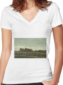 Vincent Van Gogh - Cottages. Country landscape: village view, country, buildings, house, rustic, farm, field, countryside road, trees, garden, flowers Women's Fitted V-Neck T-Shirt
