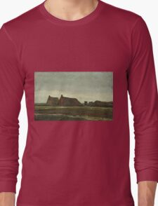 Vincent Van Gogh - Cottages. Country landscape: village view, country, buildings, house, rustic, farm, field, countryside road, trees, garden, flowers Long Sleeve T-Shirt