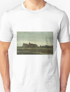 Vincent Van Gogh - Cottages. Country landscape: village view, country, buildings, house, rustic, farm, field, countryside road, trees, garden, flowers Unisex T-Shirt