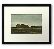 Vincent Van Gogh - Cottages. Country landscape: village view, country, buildings, house, rustic, farm, field, countryside road, trees, garden, flowers Framed Print
