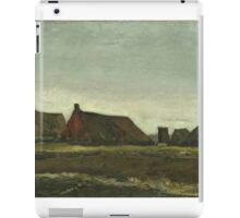 Vincent Van Gogh - Cottages. Country landscape: village view, country, buildings, house, rustic, farm, field, countryside road, trees, garden, flowers iPad Case/Skin