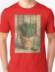 Vincent Van Gogh - Flowerpot With Garlic Chives. Still life with flowers: blossom, nature, botanical, floral flora, wonderful flower, plants, cute plant for kitchen interior, garden, vase Unisex T-Shirt