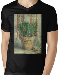 Vincent Van Gogh - Flowerpot With Garlic Chives. Still life with flowers: blossom, nature, botanical, floral flora, wonderful flower, plants, cute plant for kitchen interior, garden, vase Mens V-Neck T-Shirt