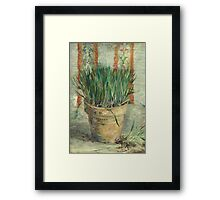 Vincent Van Gogh - Flowerpot With Garlic Chives. Still life with flowers: blossom, nature, botanical, floral flora, wonderful flower, plants, cute plant for kitchen interior, garden, vase Framed Print