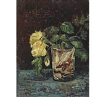 Vincent Van Gogh - Glass With Yellow Roses. Still life with flowers: flowers, blossom, nature, botanical, floral flora, wonderful flower, plants, cute plant for kitchen interior, garden, vase Photographic Print