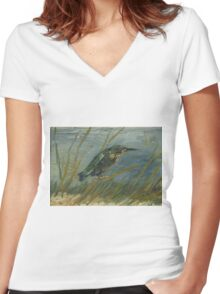 Vincent Van Gogh - Kingfisher By The Waterside. Bird painting: cute fowl, fly, wings, lucky, pets, wild life, animal, birds, little small, bird, nature Women's Fitted V-Neck T-Shirt