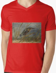 Vincent Van Gogh - Kingfisher By The Waterside. Bird painting: cute fowl, fly, wings, lucky, pets, wild life, animal, birds, little small, bird, nature Mens V-Neck T-Shirt