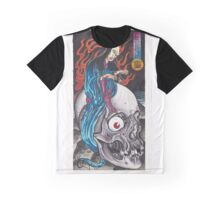 Original Japanese Watercolor Painting of Yurei on Skull Graphic T-Shirt