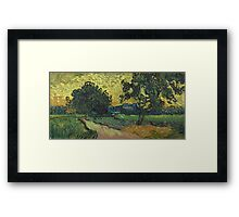 Vincent Van Gogh - Landscape At Twilight. Country landscape: village view, country, buildings, house, rustic, farm, field, countryside road, trees, garden, flowers Framed Print