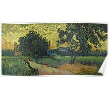 Vincent Van Gogh - Landscape At Twilight. Country landscape: village view, country, buildings, house, rustic, farm, field, countryside road, trees, garden, flowers Poster