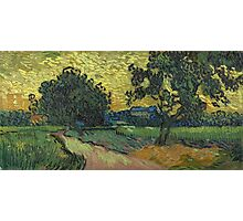 Vincent Van Gogh - Landscape At Twilight. Country landscape: village view, country, buildings, house, rustic, farm, field, countryside road, trees, garden, flowers Photographic Print