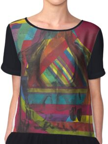 Original Watercolor Painting of Negative Colorful Skull Chiffon Top