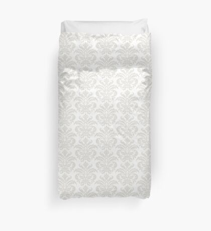 White Damask Pattern On Products Duvet Cover