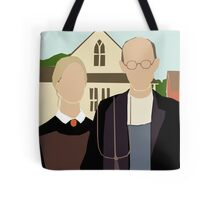 Pitchfork Couple in Front of Farmhouse Tote Bag