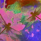 Painting Dragonflies and Pink Orchids by Vitta