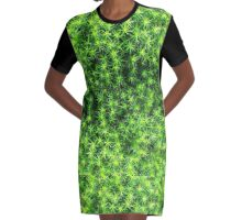 Mossy Natural Texture Graphic T-Shirt Dress