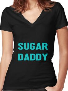 SUGAR DADDY Women's Fitted V-Neck T-Shirt
