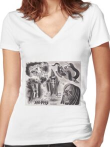 Original The Body Watercolor Tattoo Flash Painting Women's Fitted V-Neck T-Shirt