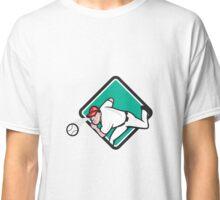 Baseball Pitcher Outfielder Throw Ball Diamond Cartoon Classic T-Shirt