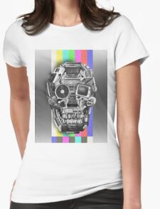 retro tech skull Womens Fitted T-Shirt