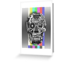 retro tech skull Greeting Card