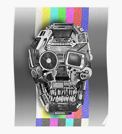 retro tech skull Poster