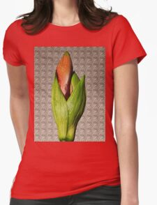 Orangery Red Amaryllis Bud Womens Fitted T-Shirt